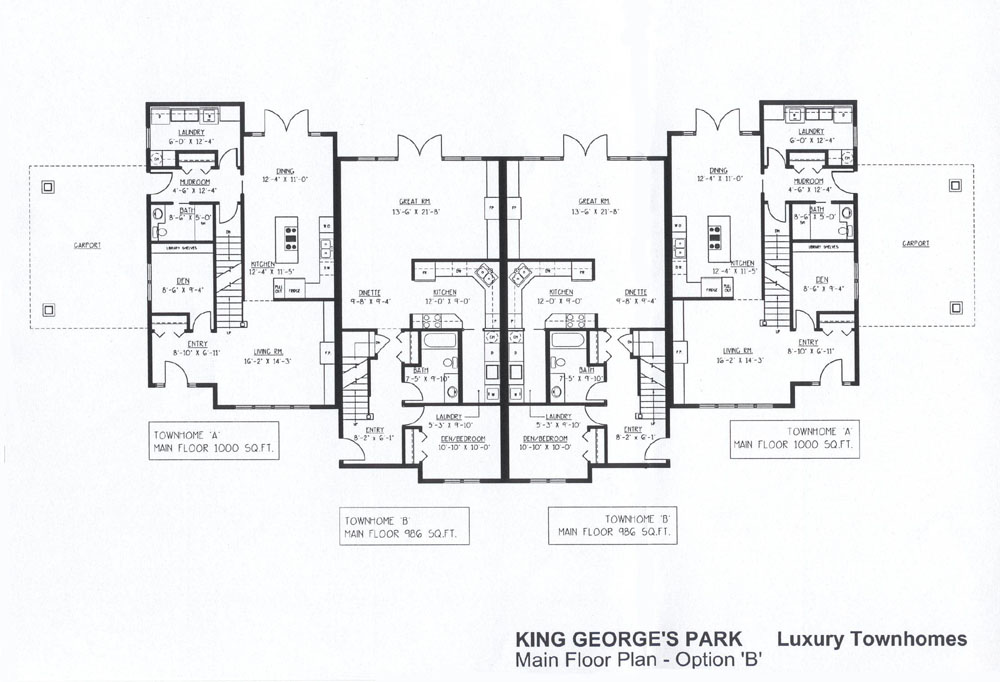 King george 39 s park luxury townhomes Luxury townhome floor plans